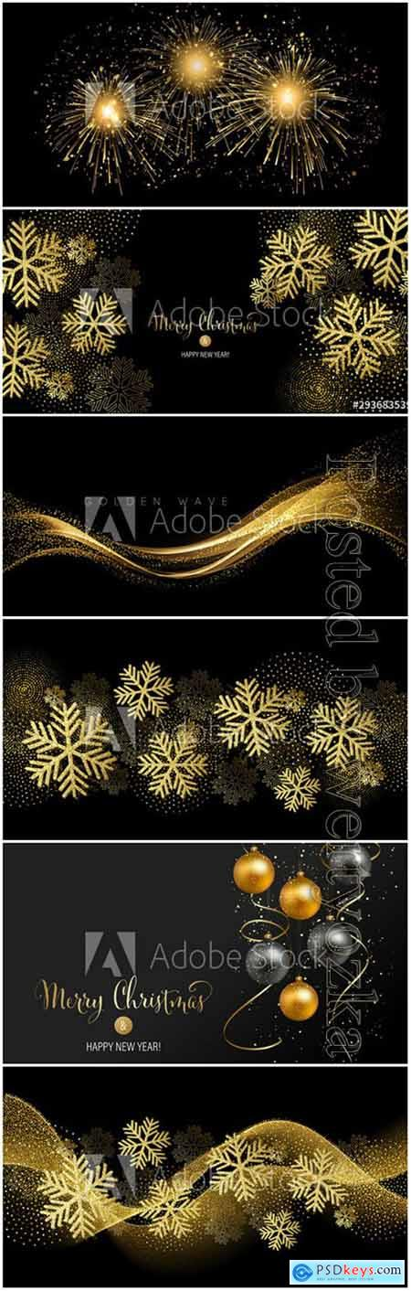 Snowflakes, salutes, Christmas balls on black vector backgrounds