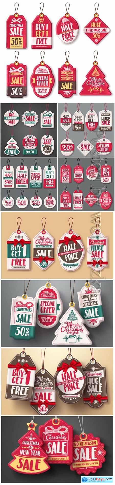 Christmas hanging sale tags vector set in white color with different shapes and greetings