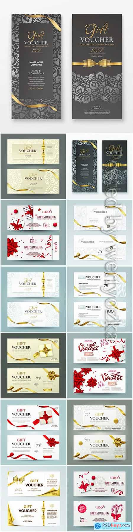 Vector set of luxury gift vouchers with ribbons, bows and gift box