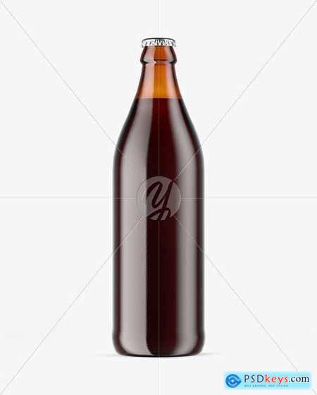 Amber Glass Bottle With Red Ale Mockup 51517