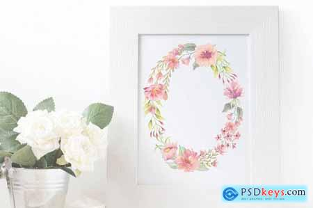 Coral Trio 3 Watercolor Wreaths