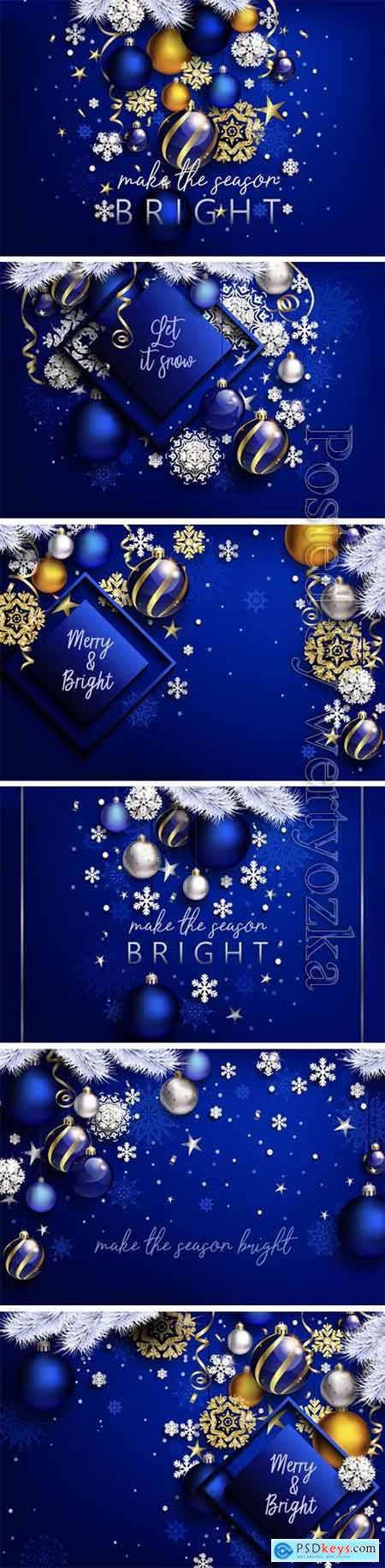 Modern blue Christmas vector composition