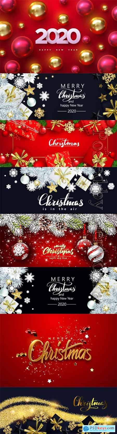 Christmas banner with gift boxes and golden snowflakes