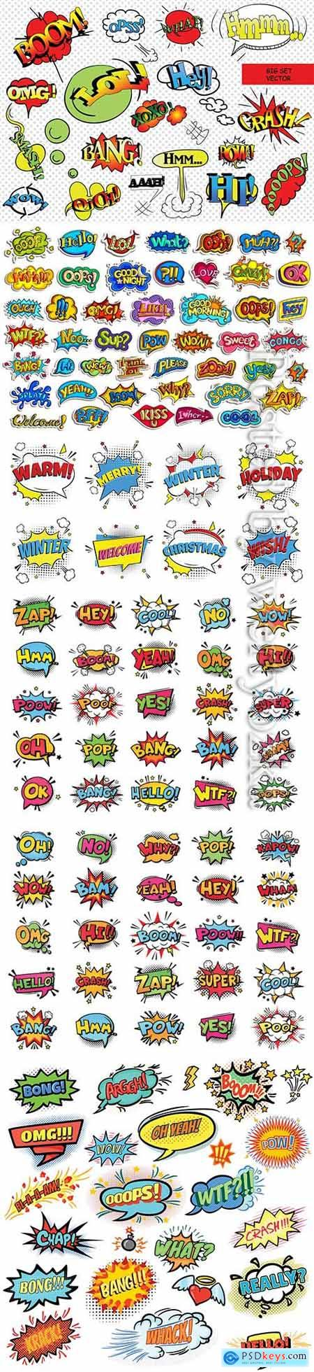 Sticker collection for comic style chat bubble for different word