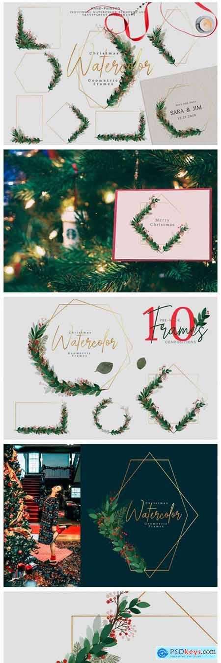 Christmas Watercolor Geometric Frames 2321307