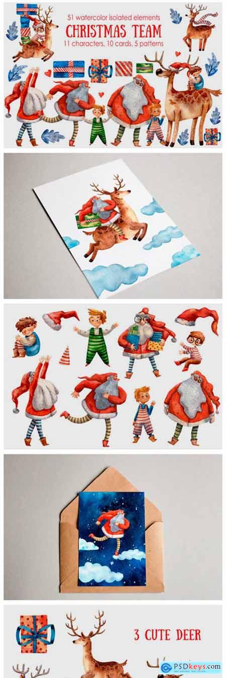 Christmas Team Watercolor Clip Art Set 2321380