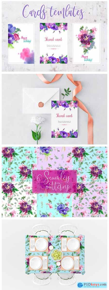 Purple Bouquet Watercolor Clipart 2342061