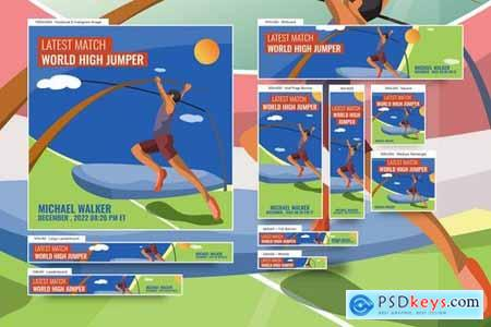Male High Jumper Banners Ad Vector Illustration