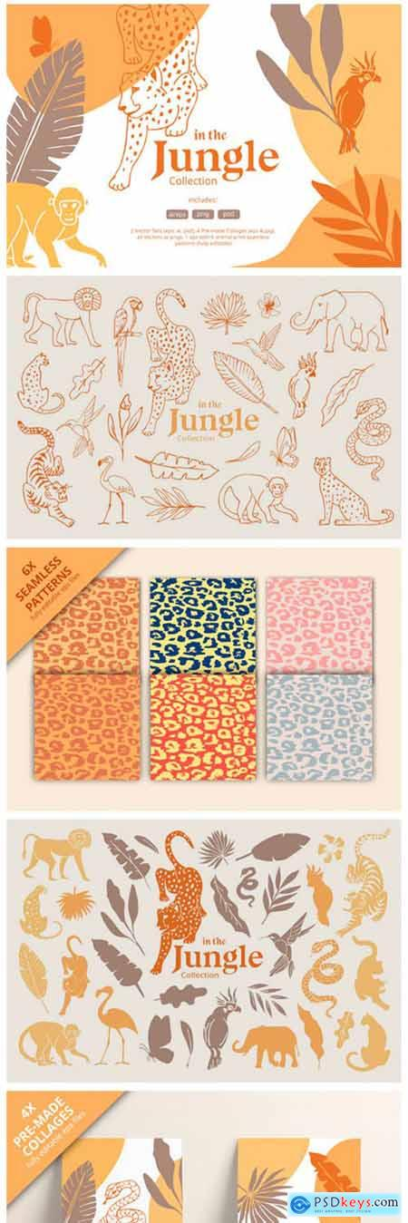 Hand Drawn Jungle Animals Illustrations 2333092