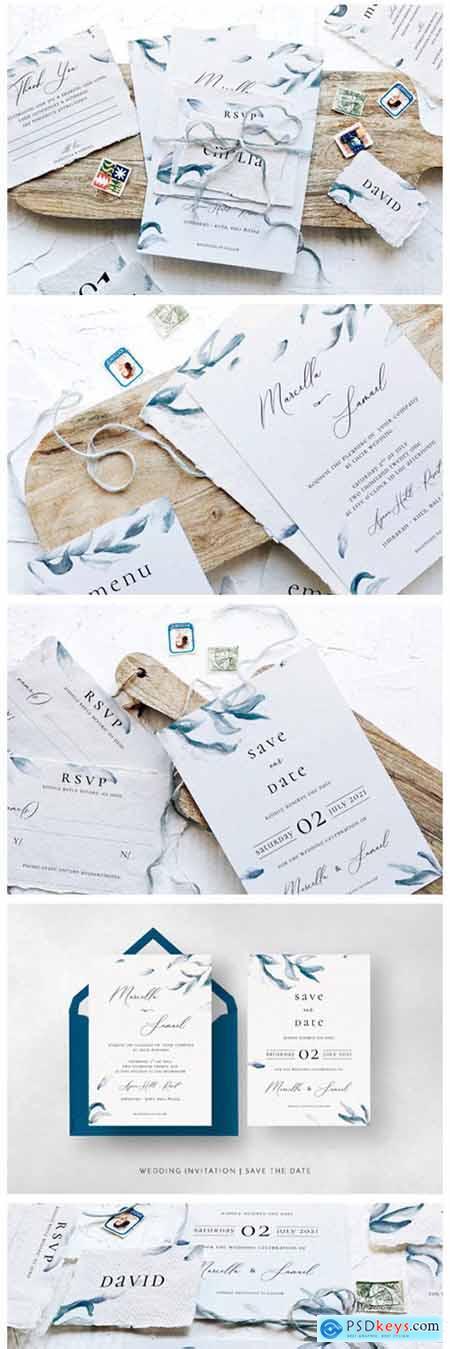Elegant Blue Sprigs Wedding Suite 2340365