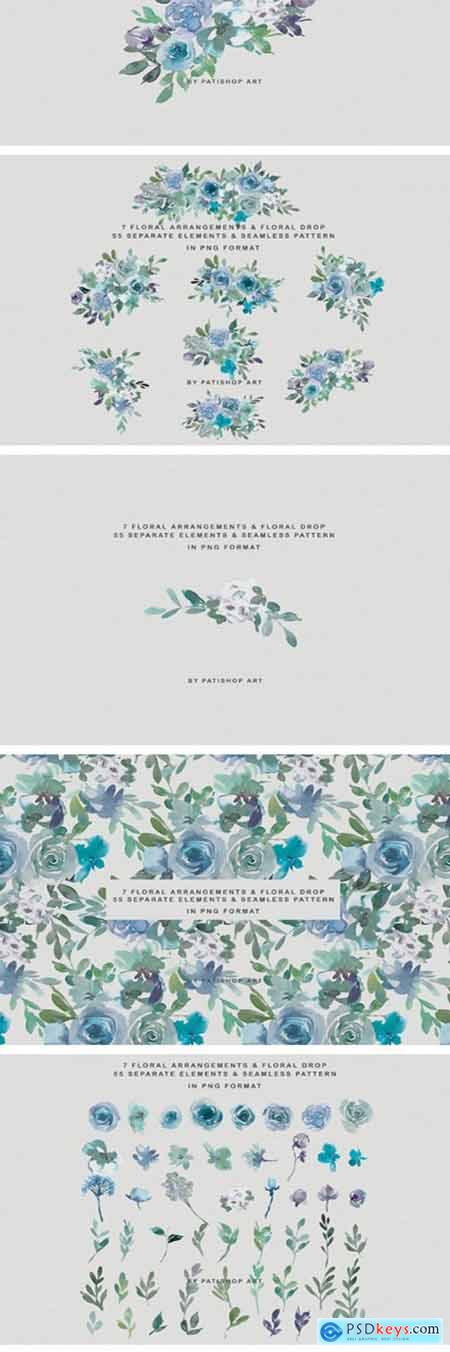 Pale Aqua & Laurel Green Floral Clipart 2333578