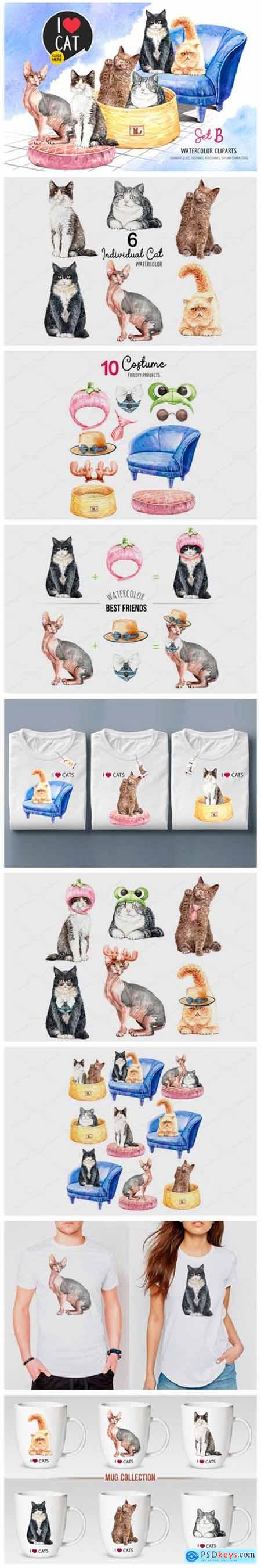 Cat Lover Watercolor Clip Art Set B 2338670