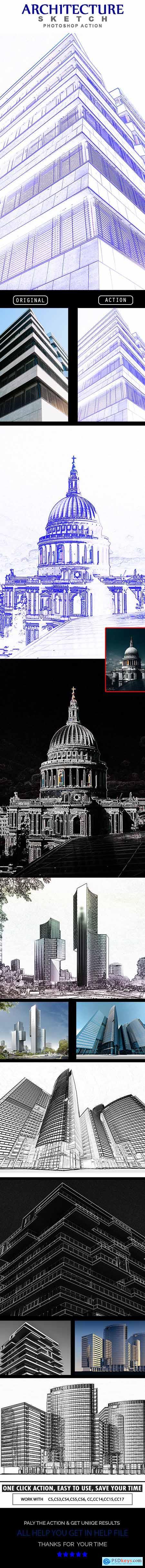 Architecture Sketch Photoshop Action 24965106