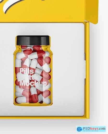 Opened Glossy Box with Pills Bottle Mockup 51387