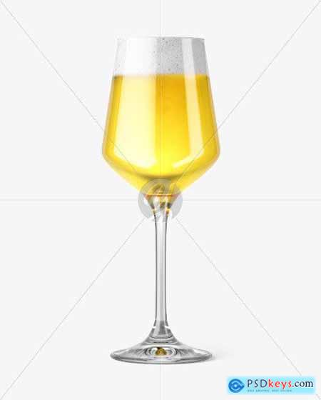 Stemmed Glass with Saison Ale Mockup 51672