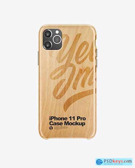 iPhone 11 Pro White Wooden Case Mockup 51667