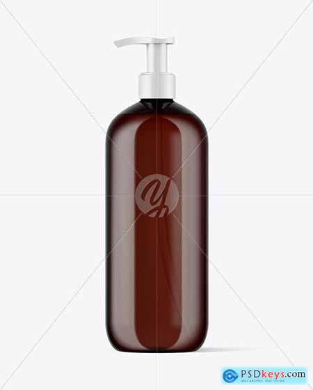 Amber Cosmetic Bottle with Pump Mockup 51662
