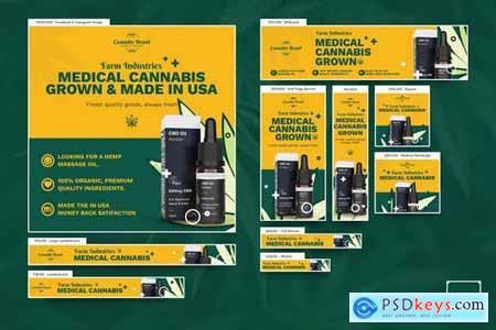 Cannabis Hemp Oil Banners Ad PSD Template