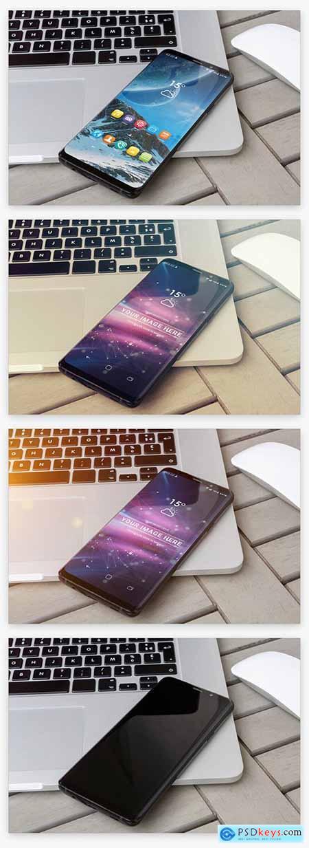 Smartphone on Laptop Mockup 217907059