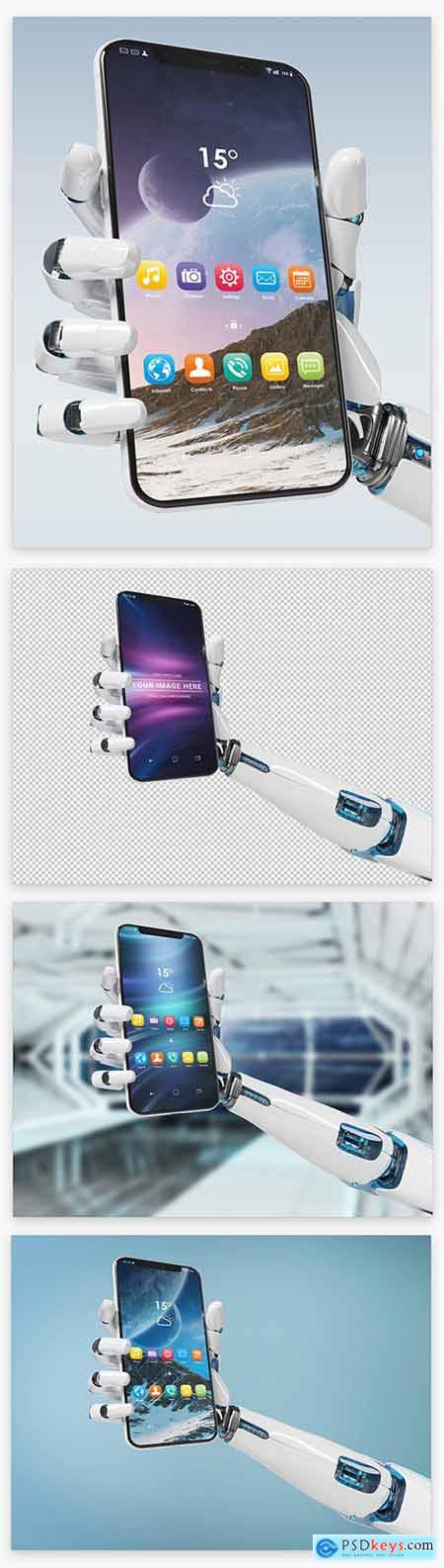 Isolated Smartphone in Robot Hand Mockup 220288384