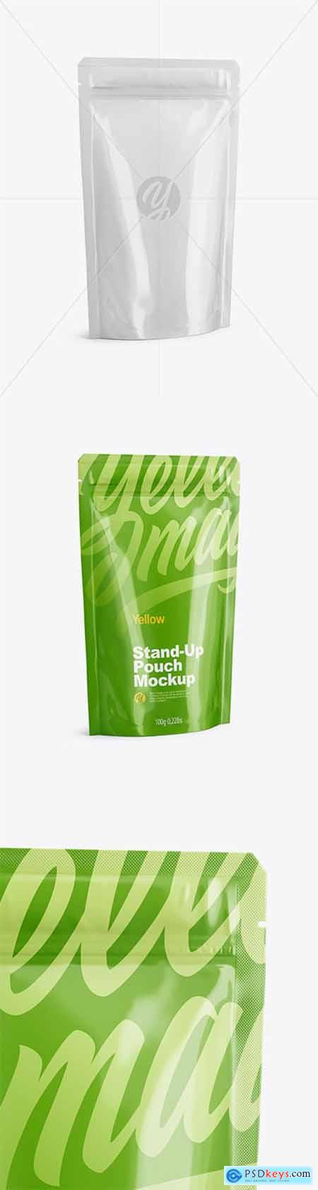 Glossy Stand Up Pouch with Zipper Mockup - Half Side View 51072