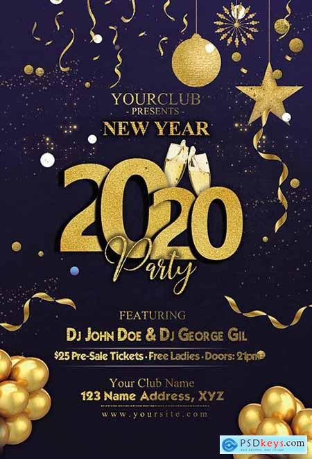 Cool dark New Year 2020 psd flyer