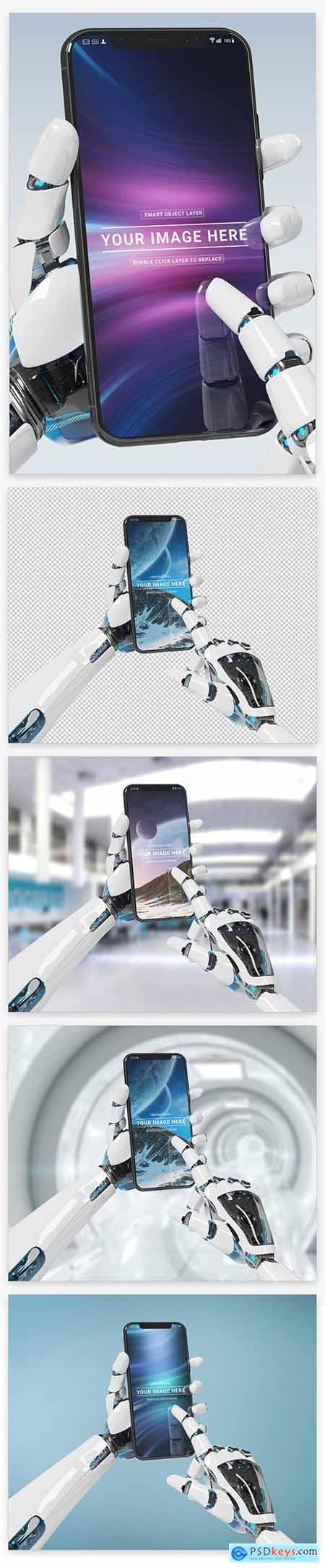 Isolated Smartphone in Robot Hand Mockup 220287945