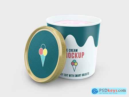 Round Ice Cream Container Mockup 219434640