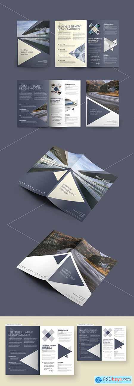 Bifold Brochure Layout with Triangular Elements 223750765