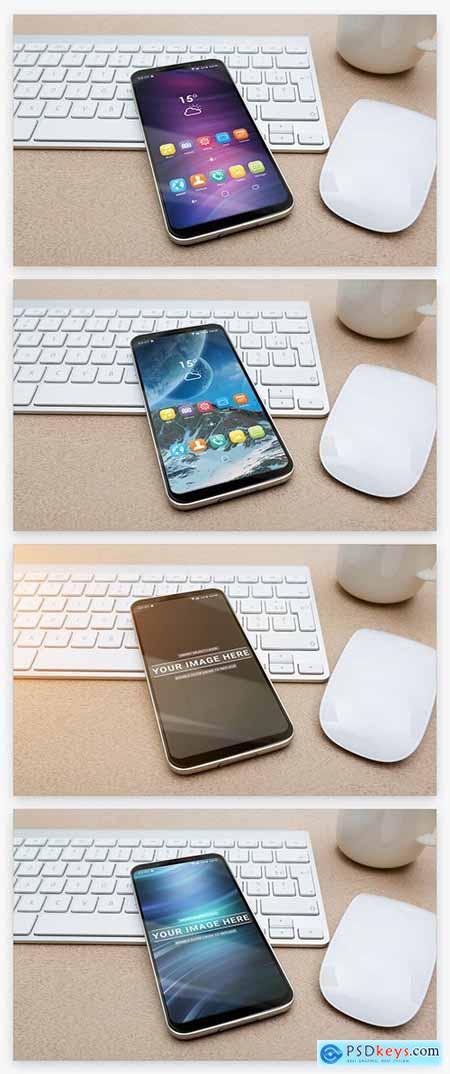 Smartphone on Keyboard Mockup 221026625