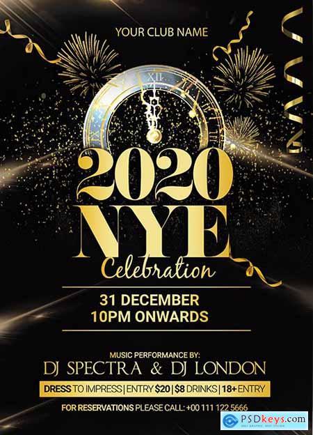 2020 Happy New Party Flyer Design