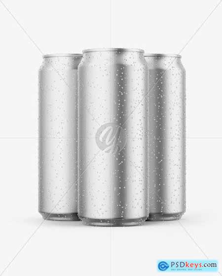 Three Matte Metallic Cans Mockup 51436