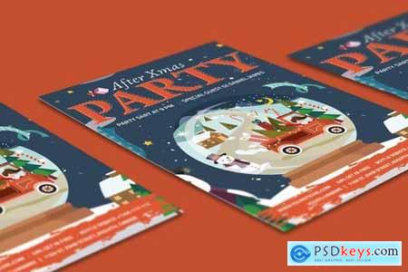 After Christmas Party Flyer Illustrator Template