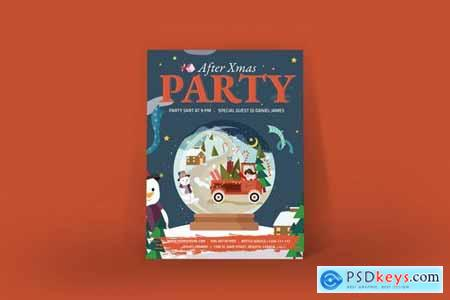 After Christmas Party Poster Illustrator Template