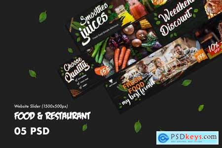Food & Restaurants Website Slider PSD Template