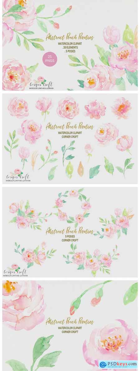 Watercolor Peach Peony 2363339
