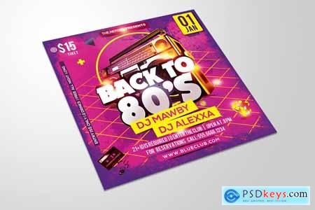 Back to 1980s Party Flyer 4410565