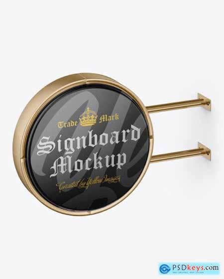 Glossy Metallic Round Signboard Mockup 51673