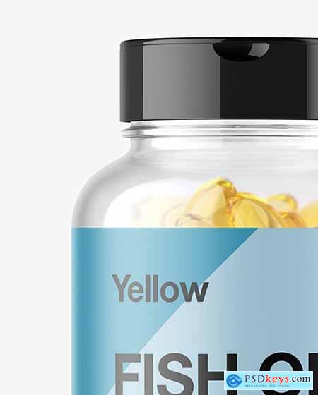 Clear Fish Oil Bottle Mockup - Front View 14466