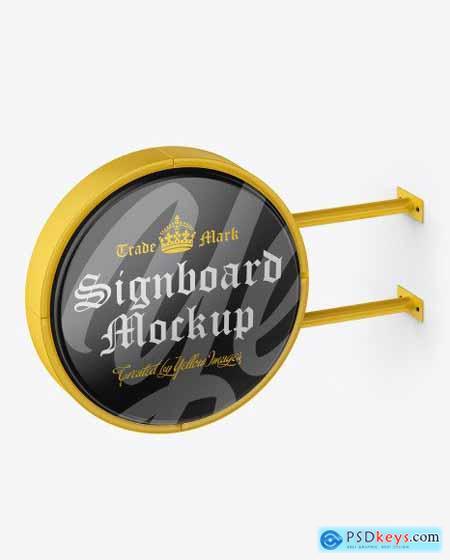 Glossy Round Signboard Mockup 51548