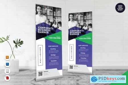 Corporate Roll Up Banner AI & PSD Template