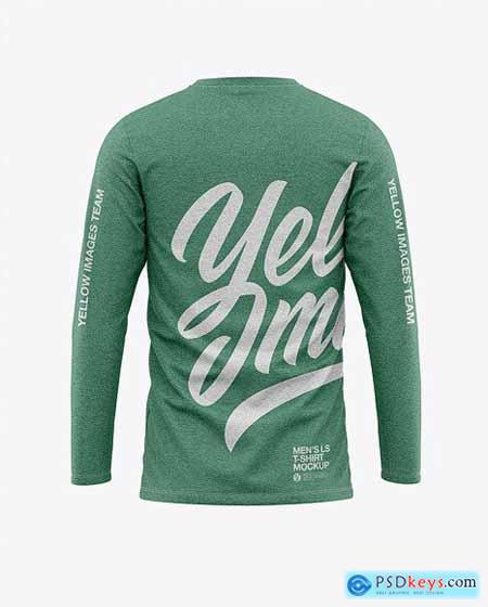 Mens Heather Long Sleeve T-Shirt Mockup 51406
