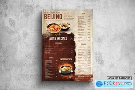 Chinese Poster Food Menu - A3 & US Tabloid