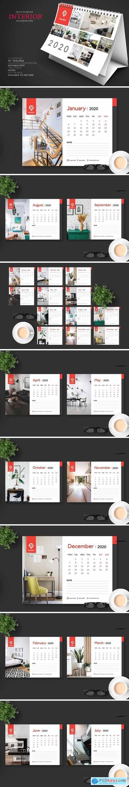 2020 Furniture-Interior Calendar Desk Pro