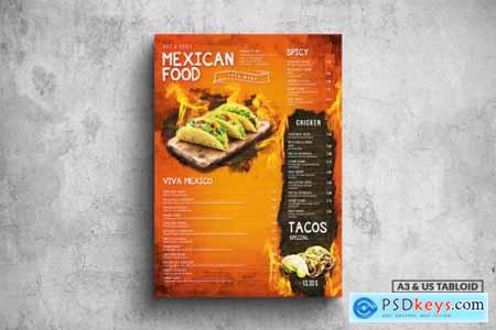 Mexican Poster Food Menu - A3 & US Tabloid