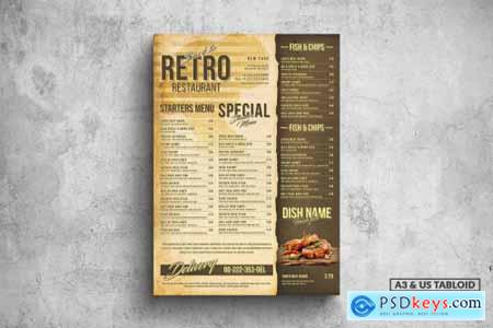 Retro Poster Food Menu - A3 & US Tabloid