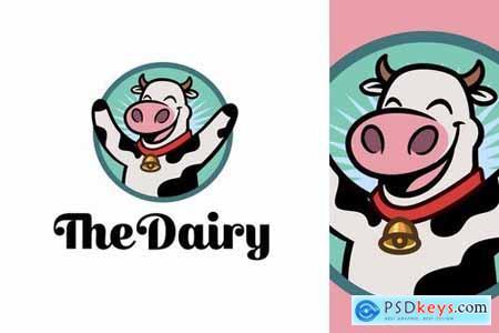 Cartoon Happy Dairy Cow Character Mascot Logo