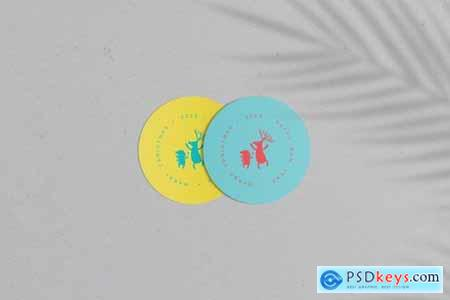 Round Cards Stickers Mock-Ups Vol1