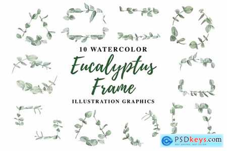 10 Watercolor Eucalyptus Frame Illustration