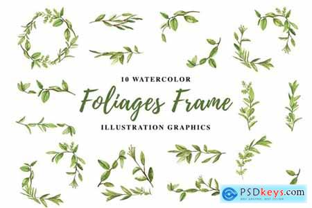 10 Watercolor Foliages Frame Illustration Graphics